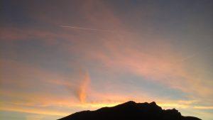 couché de soleil sur le Pic du Gar, de la terrasse